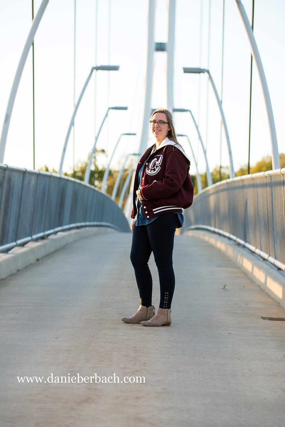 Senior portrait on IPFW bridge