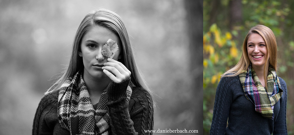 Fall portraits with wooded scenery
