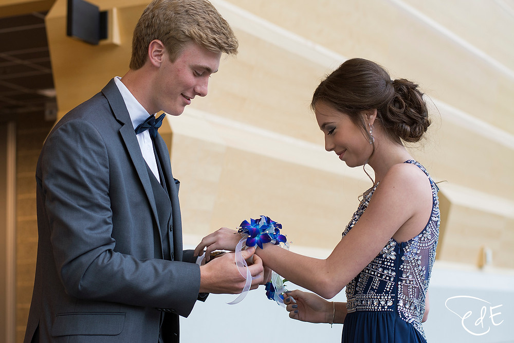Prom couple with corsage