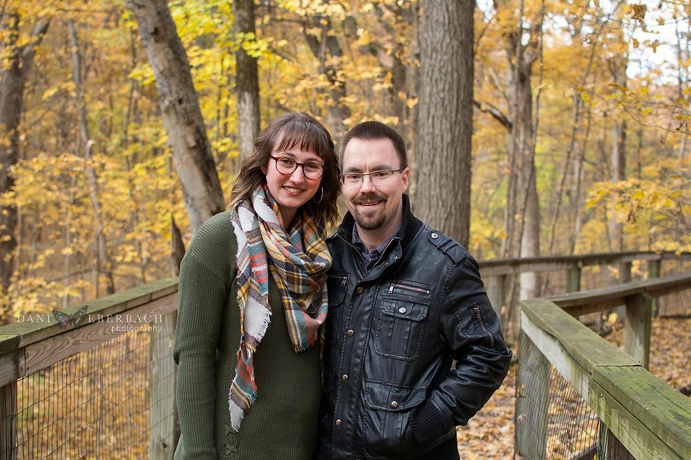Portrait of couple on walkway at Lindenwood