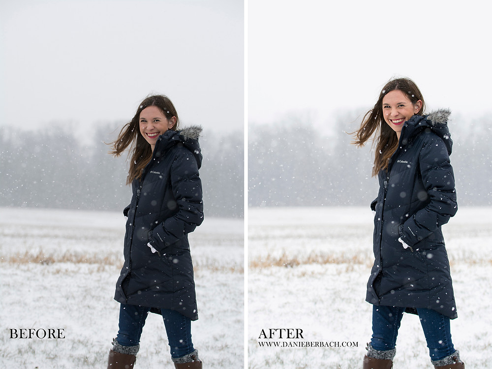 Before and After: Snow Portrait