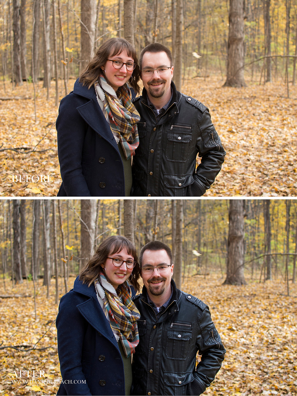 Before and After: Autumn Portrait in the Woods