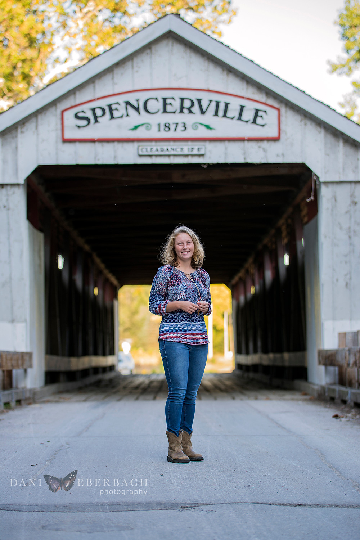 Fall portrait at Spencerville covered bridge