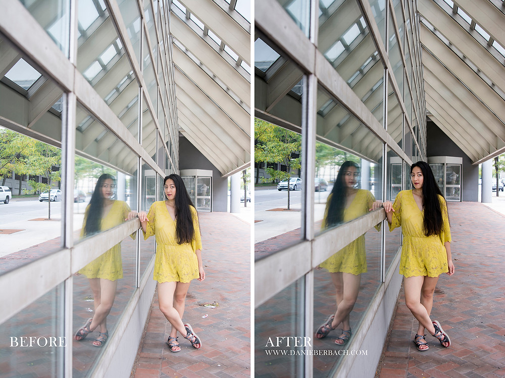 Before and After: Summer Portrait with Window Reflections