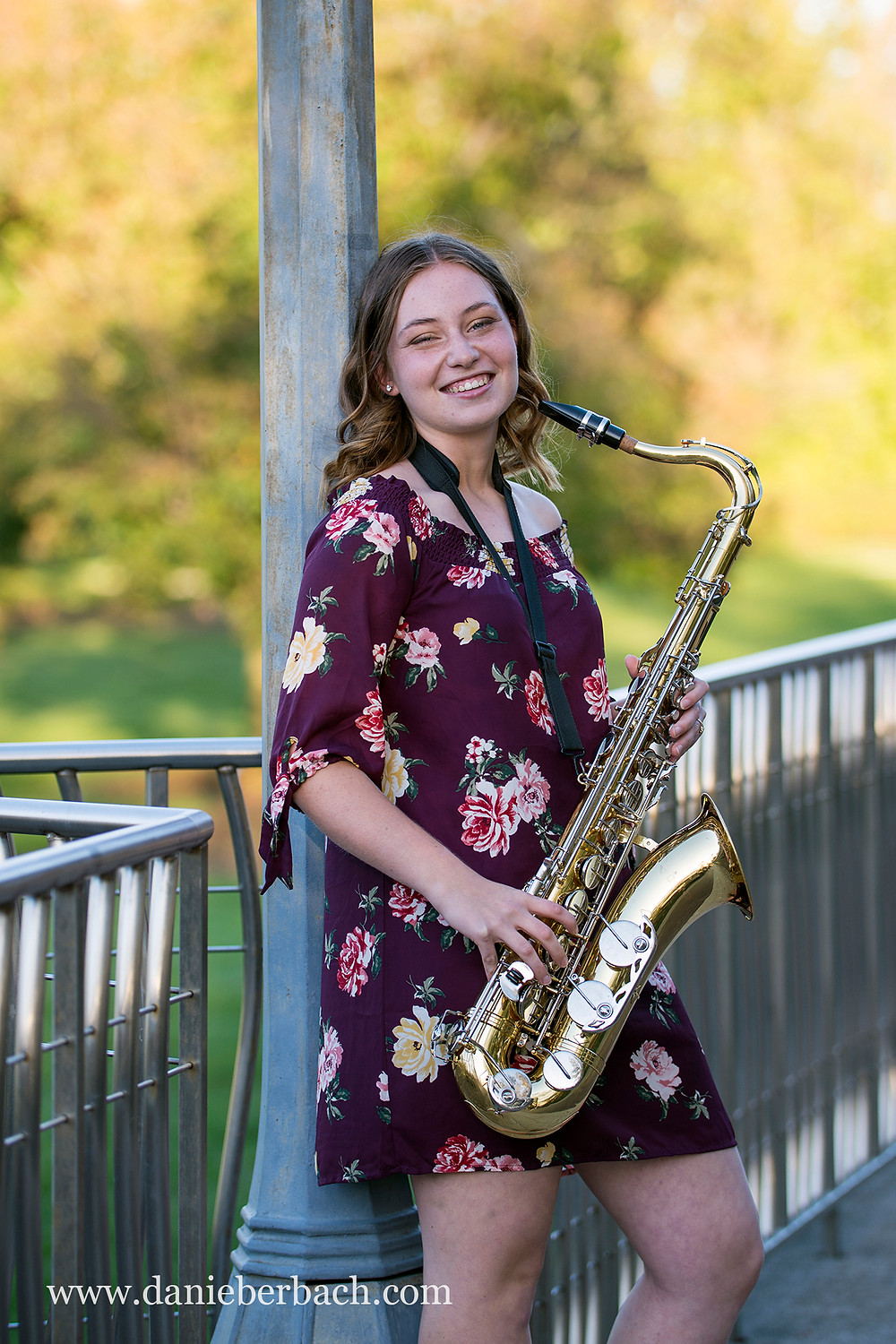 Senior pictures with saxophone