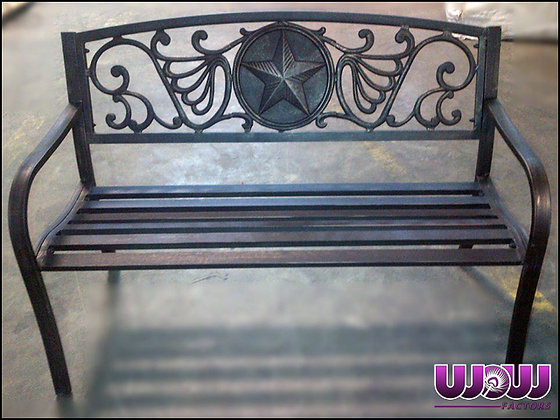 Rustic Star Iron Park Bench