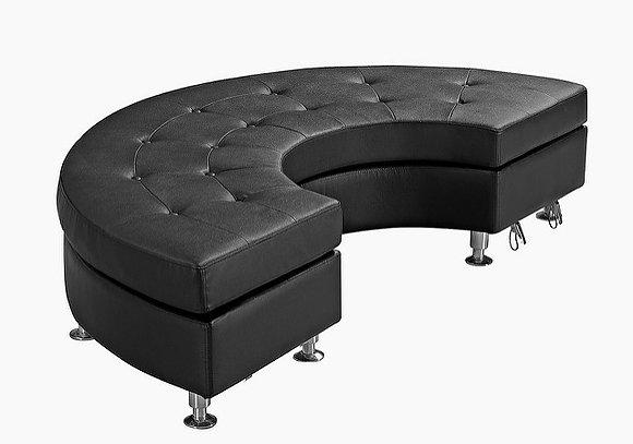 1/2 Round Black Modular Tufted Ottoman