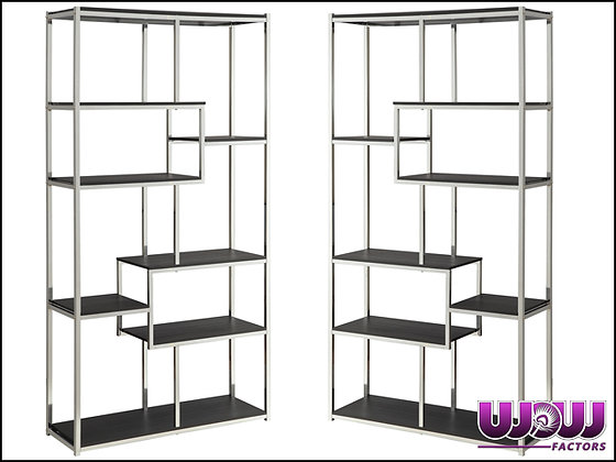 Espresso & Chrome Shelves