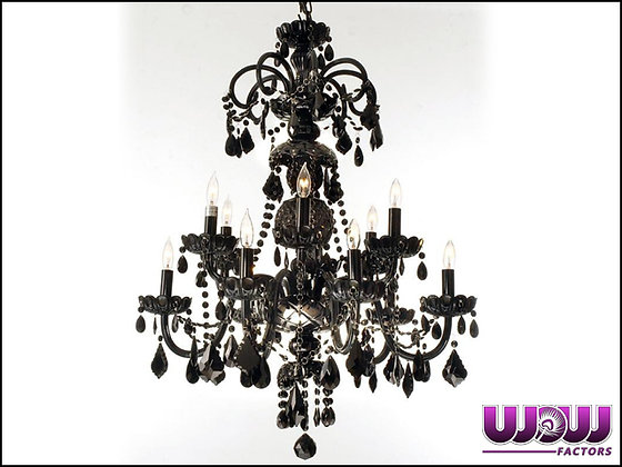 Jet Black Crystal Chandelier (12 Light)