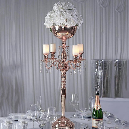 "Rose Gold Candelabra 33"" With Bowl"