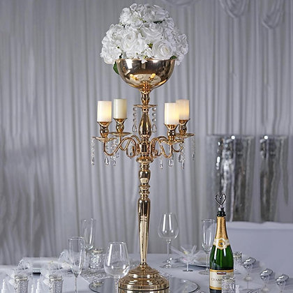 "Gold Candelabra 33"" with Bowl"
