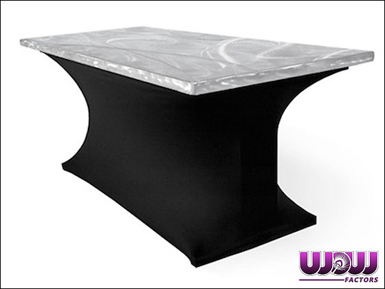 Stainless Swirl Top 8' Folding Table with Spandex