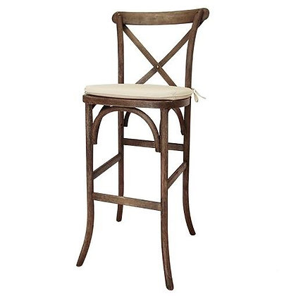 Vineyard Cross Back White Wash Bar Stool
