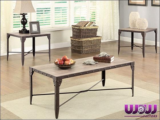 Rustic Steel & Wood Coffee Table