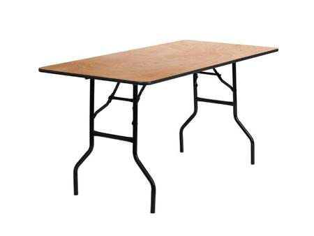 Rectangle 6' Folding Wood Table