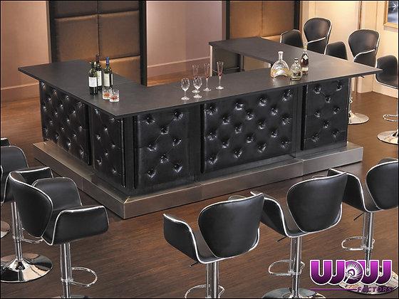 VIP 4' Black Button Tufted Bar