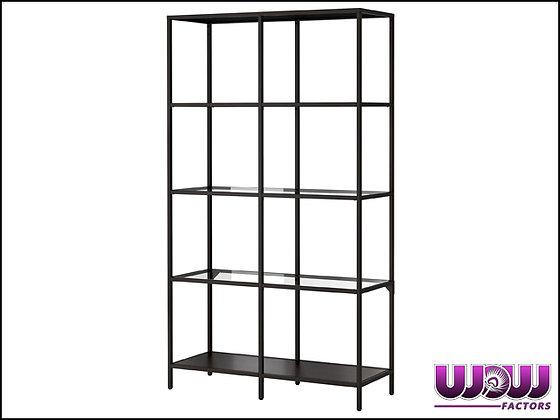 Black Steel & Glass Bar Shelves