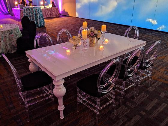 Bella White Lacquer Table 7' x 3'