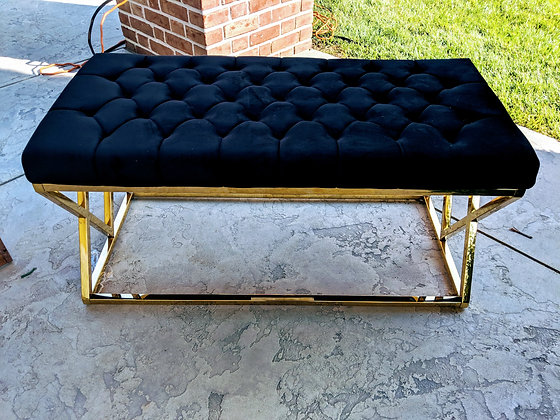 Gold Brushed Black Tufted Vixen Ottoman