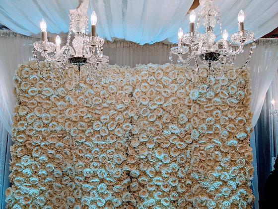 4' x 8' White Silk Floral Wall