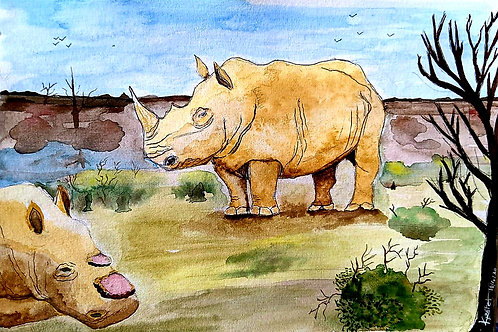 """Save Rhino - Don't Hurt Them for Horn"" by Komal Patel"