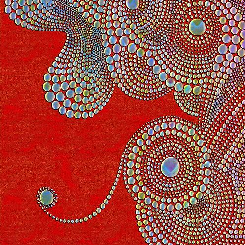 """""""Round Dotz on Red Background"""" by Brenda Chandler"""