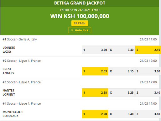 BETIKA GRAND JACKPOT PREDICTION THIS WEEK 21ST MARCH 2021
