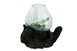 Large Terrarium with Teak Root Base Black