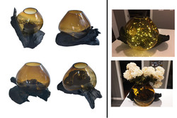 Amber Glass Bowl &Teak Root Base-L