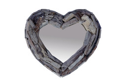Small Drift Wood Mirror Heart