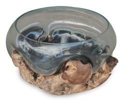 Bowl with Finger Teak Root Base