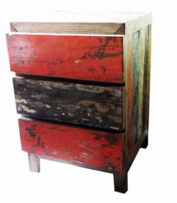 Boat Wood Cabinet w/ 3 Drawers