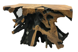 Nat and Black Teak Root Console Tabl