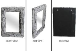 Rectangular Drift Wood Mirror White
