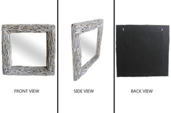 Square Driftwood Mirror White