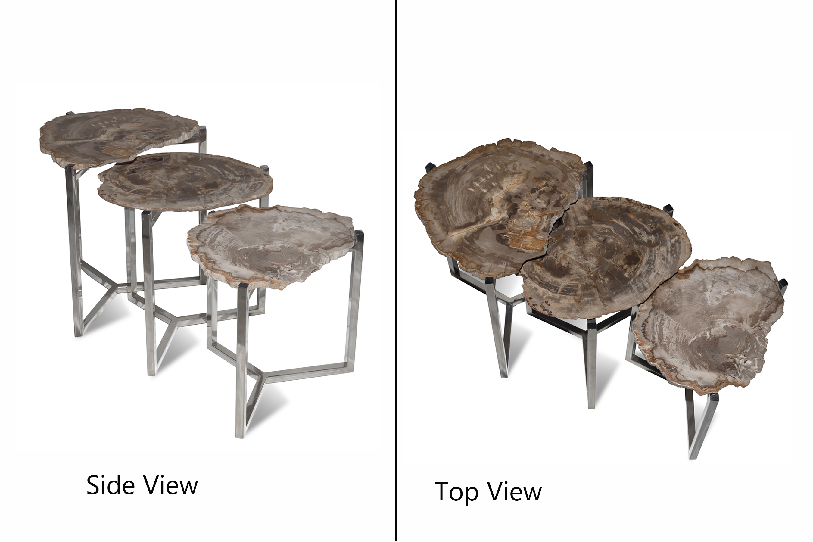 3 Tier Petrified Wood Side Table
