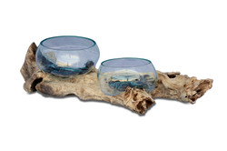 Double Wood Terrarium with Wooden Base Bleached