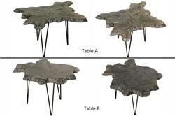 Black/White Teak Root Slab Table