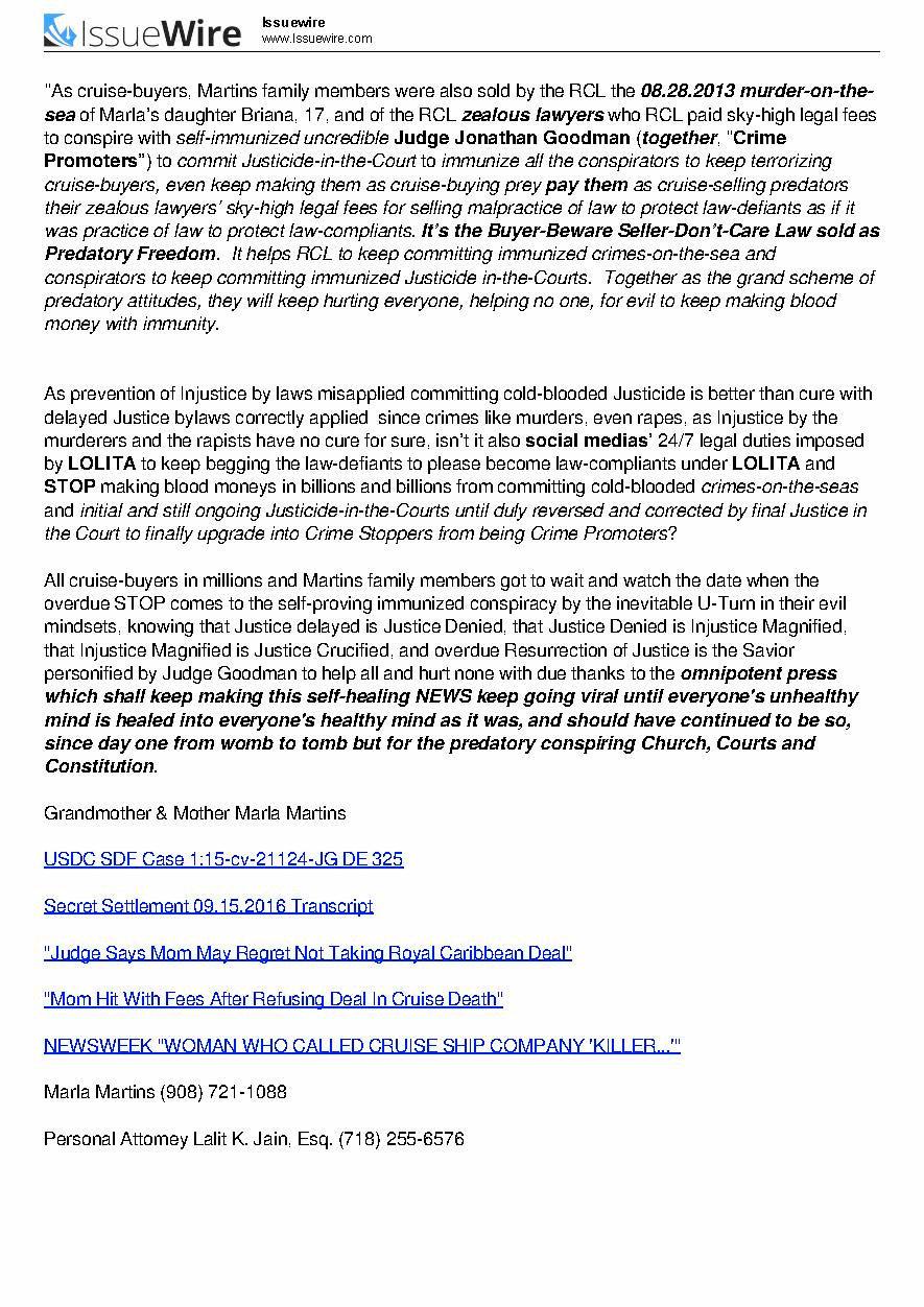 Judge Jonathan Goodman, Jonathan Goodman, Lalit K. Jain Esq., Marla Martins, Martins v. Royal Caribbean, Case 15-cv-21124-JG USDC SD FLORIDA