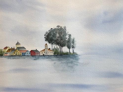 Village au bord du lac 34x27cm