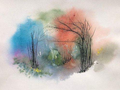 Forêt abstraite 40x55 cm