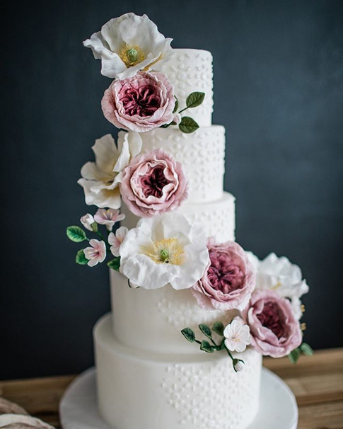 Fondant Cake with Handmade Sugar Flowers