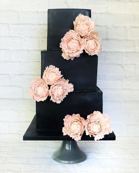 Black and blush pink wedding cake