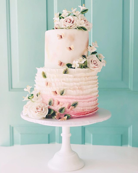 Fondant cake with handmade sugar flowers