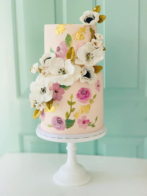 Hand painted cake with sugar flowers