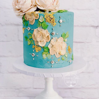 Palette Painted Buttercream cake with Sugar Peonies