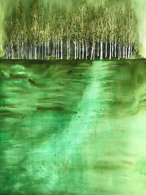 Camaieu de verts 55 x 64 cm