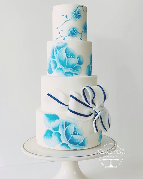 Handpained wedding cake
