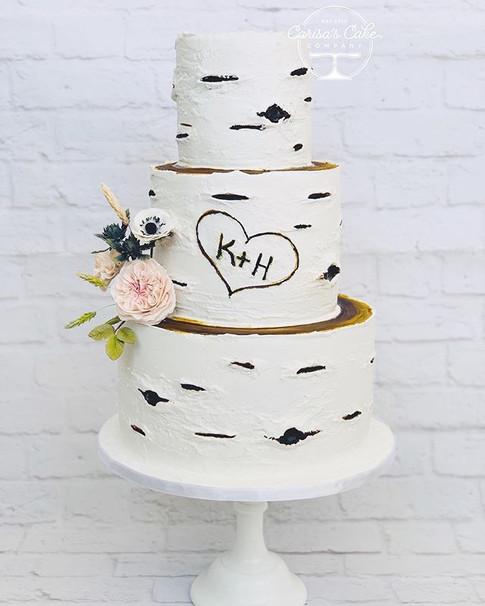 Birch Bark Cake with sugar flowers