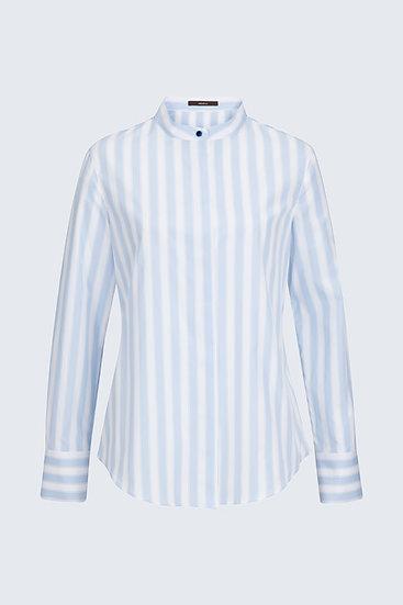 Windsor Woman Popeline-Bluse in Hellblau-Weiß